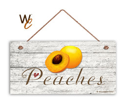 "Peaches Sign, Rustic Style Garden Sign,  5"" x 10"" Wood Fruit Sign, Kitchen - $11.39"