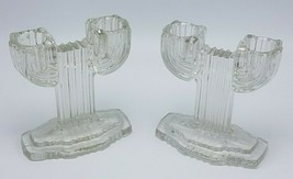 Pair of Vintage Anchor Hocking Queen Mary Clear Cactus Art Deco CandleSt... - $9.95
