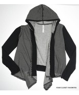 JESSICA SIMPSON size SMALL Black/White Hooded Cardigan Lightweight Open ... - $28.95