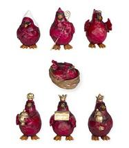 Red Cardinal Birds Nativity Set 7 Pc Figurine Set - $40.49