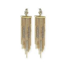 Alexis Bittar Navette Crystal Cluster Long Fringe Gold Drop Earrings NWT - $172.76