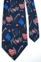 ADOLFO ART DECO Paisley  BLACK RED BLUE TIE NECKTIE #Z1-281 - $15.83