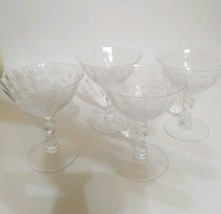 """4 Fostoria Chintz Etched 4 3/8"""" Low Footed Sherbet stems vintage beautiful - $28.99"""