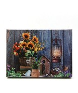 Sunflowers with Lantern LED Light Up Lighted Canvas Wall or Tabletop Pic... - $20.89