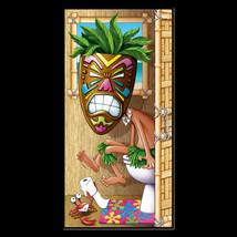 Funny Luau TIKI HEAD MASK on POTTY Bathroom Door Cover Birthday Party De... - $7.89