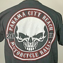 2011 Panama City Beach Motorcycle Rally T Shirt Black Skull Large Florid... - $9.85