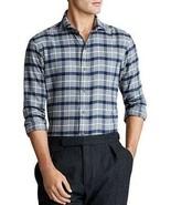 Polo Ralph Lauren GREY/NAVY MULTI Men's Windowpane Classic Fit Shirt, US Medium - $74.25