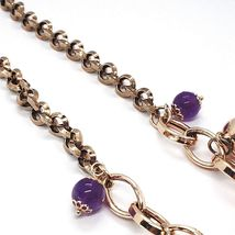 Silver necklace 925, Pink, amatista Purple, Peppers Curved pendants image 5