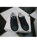 NIB 100% AUTH Gucci Kids Blue Leather Lace Up Sneakers With Web Detail 2... - $178.00