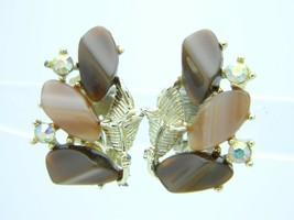Vintage Gold Tone Brown Thermoset Aurora Borealis Rhinestone Clip Earrings - $29.70