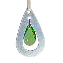 Aluminum and Crystal Oval Drop Ornament image 1