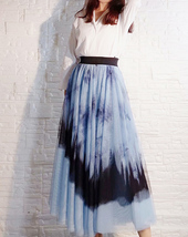 Dusty Blue Long Tulle Skirt Butterfly Dye Tulle Skirt Plus Size Party Outfit image 5