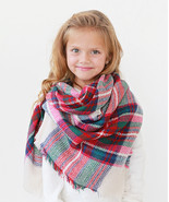 Girls Pink & White Plaid Blanket Scarf Accessory MSRP $30.00 YOU SAVE $1... - $18.99