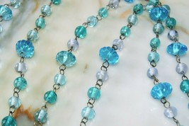 "Estate Vintage Blue/Green Lampwork Art Glass Bead Link Necklace 26"" FLAPPER - $39.59"