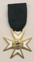 Vintage Masonic Pin Mason Medal Ribbon Enamel E Pluribus Unum Eagle Cres... - $8.91