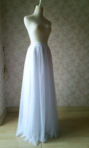 WHITE FULL TULLE Skirt White Wedding Bridal Tulle Maxi Full Skirts,petite-plus image 2