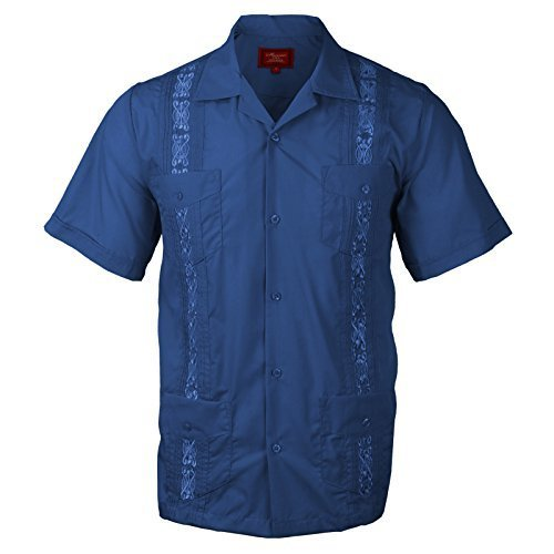 Guayabera Men's Cuban Beach Wedding Short Sleeve Button-Up Casual Dress Shirt (3