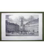 DENMARK Copenhagen Gammeltorv Square - 1820s Copper Engraving Cpt BATTY - $16.83