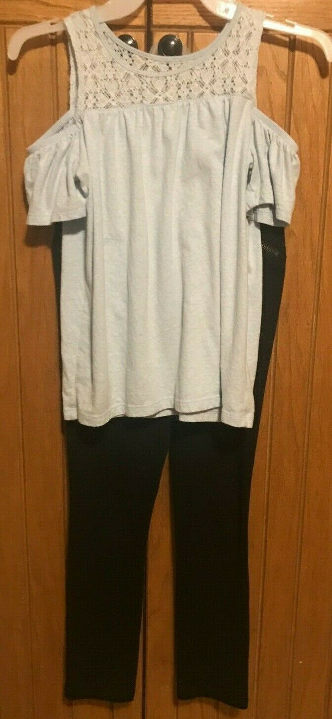 Primary image for Girls Outfit Black Pants and Light Blue Cold Shoulder Top Size Large 10-12