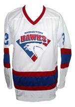Custom Name # Moncton Hawks Retro Hockey Jersey New White Any Size image 4