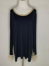 Soft Surroundings Womens Top Black T Shirt Tunic Blouse Top Lagenlook Sz... - $24.95