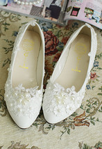 wedding shoes bride,Wedding shoes ivory,Wedding shoes lace Size UK 2,3,4,5,6,7,8 - $38.00