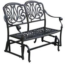 Outdoor Glider Elisabeth Patio  Cast Aluminum Bench Furniture Desert Bronze image 4