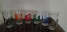 VINTAGE, SWANKY SWIGS, 6 OUNCE, GLASSES, SET OF SIX, (6), RED, ORANGE, B... - $41.40