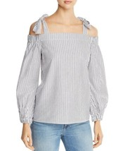 Michael Kors Striped Cold-Shoulder Top (Gray, L) - $69.20