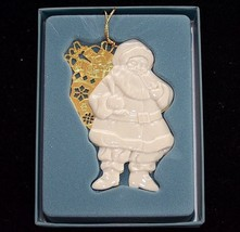 LENOX White and Gold Santa Claus Christmas Ornament  in Box Laurels Coll... - $14.82