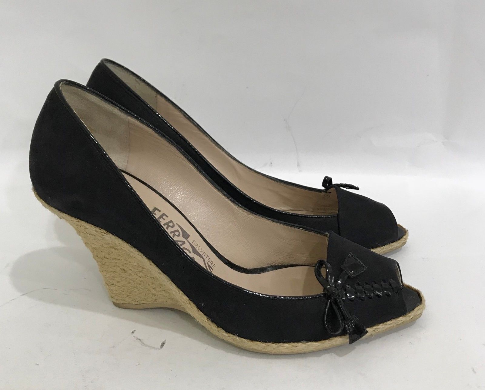 c7bfccfa76968 Salvatore Ferragamo Black Suede High Wedge Heel Shoes Open Toe Pumps Size US  7