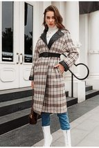 Elegant English Vintage Plaid  Quilted Reversible Full Length Winter Trench Coat image 4