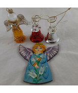 Vintage Angel Tole Painted Wooden Christmas Ornament + 2 bells &1994 Rom... - $19.79