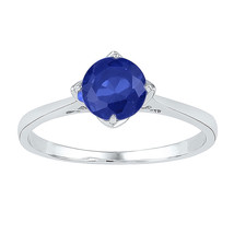 Sterling Silver Womens Round Lab-Created Blue Sapphire Solitaire Ring 1.... - £26.76 GBP