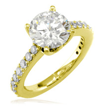 Engagement Ring Setting for a Round Diamond, 0.65CT Total Sides in 14K Y... - $1,715.00