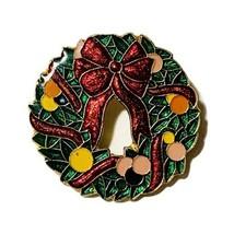 Vintage Centennia 1980 Enamel Christmas Wreath Pin Brooch Gold Tone Metal - $17.82