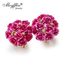 Meyfflin Stud Earrings Women Female Boucle Doreille Crystal Flower Earring Gold  - $7.99