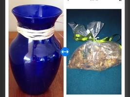 "Blue Glass Vase Approx  8"" With bag of citrus potpourri - $49.99"