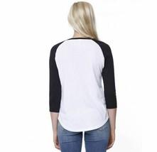 Embroidered ST1475 StarTee Ladies' CVC Long-Sleeve Raglan white/black Sz S image 2