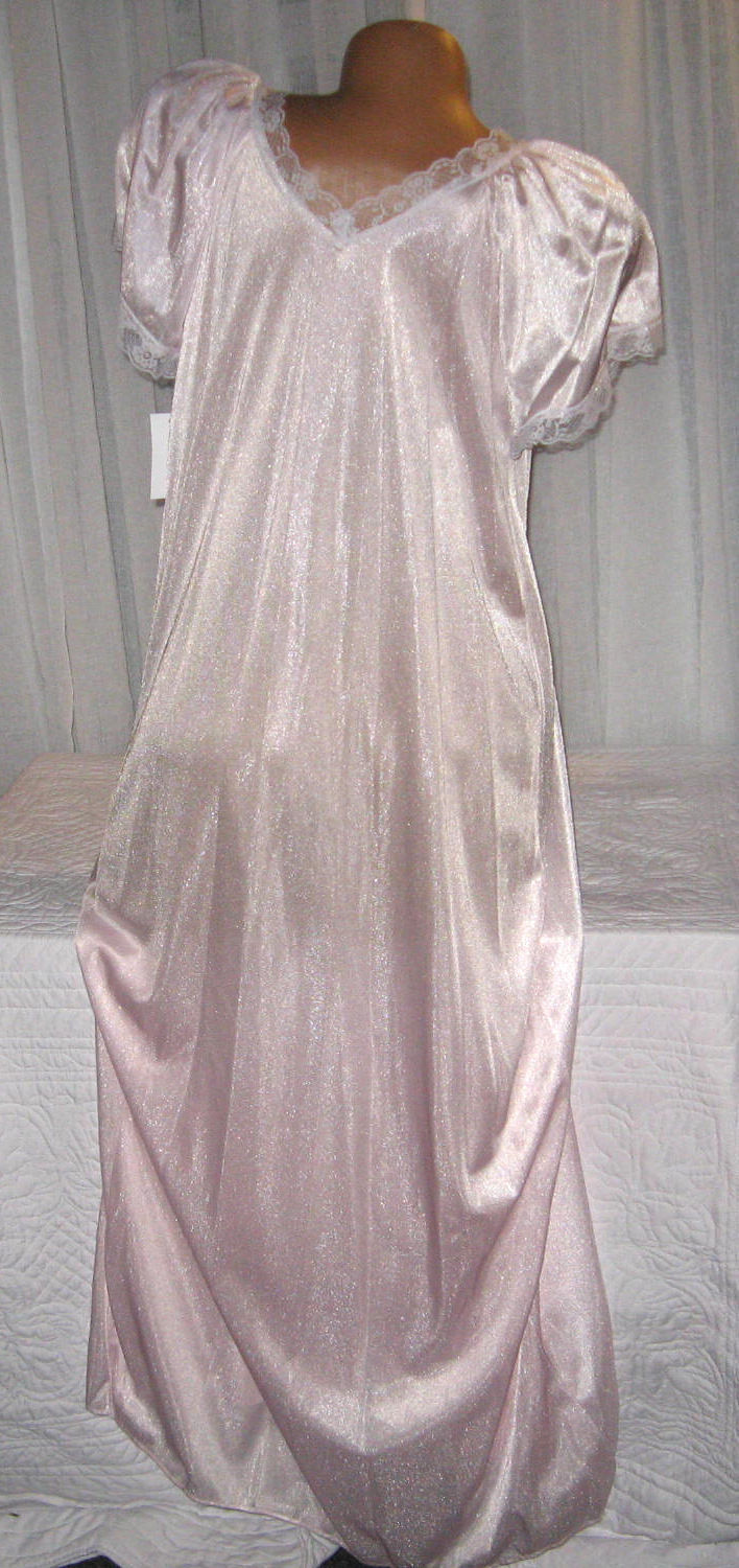 Light Pink Embroidery Nylon Long Nightgown S