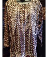 Vintage Indian Brown Hand Embroidered Paisley Trim Long Sleeve Tunic Shirt - $26.18