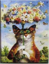 Cross Stitch All-Inclusive Kit Cat Under Umbrella of Flowers Raining But... - $22.72