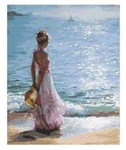Paint By Numbers DIY Kit Beach Seaside Dreaming Lady Women 40CMx50CM Canvas - $13.86