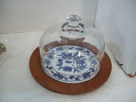 Vintage Dolphin Teakwood Cheese Server with Glass Dome Japanese Tile Cen... - $15.79
