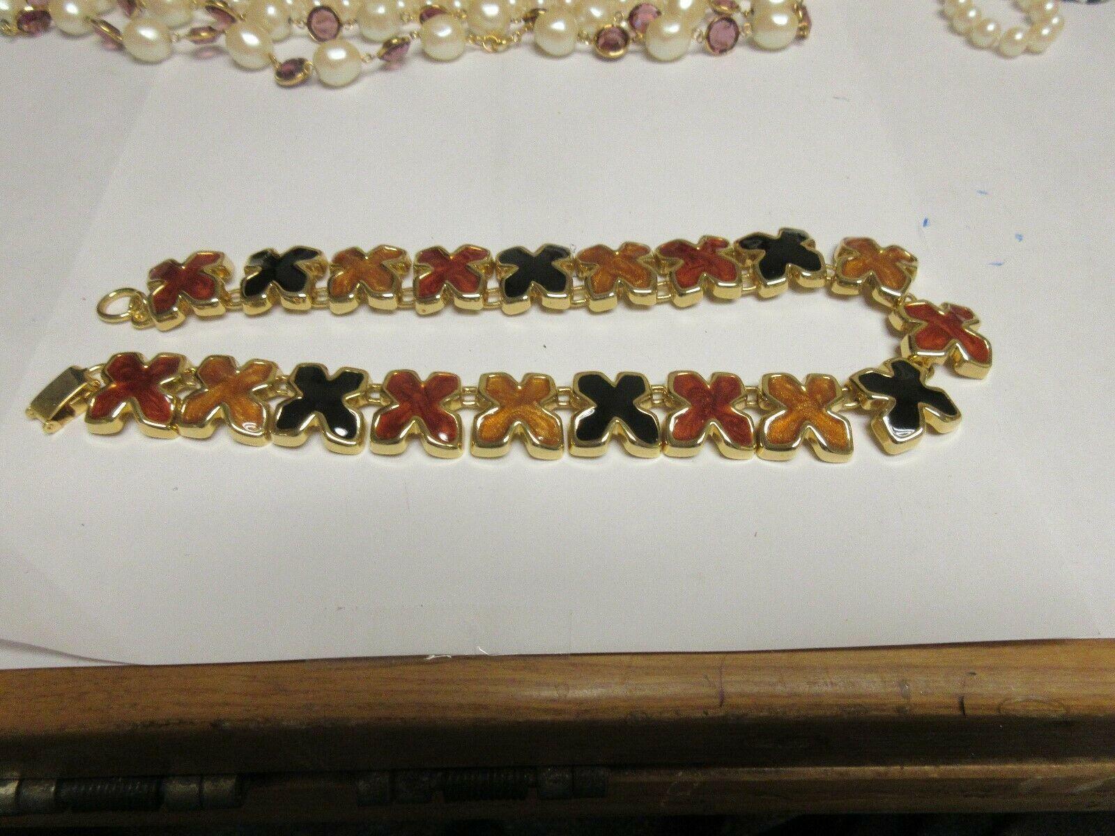 "Costume Jewelry , Necklace , Vintage ,  Multi Color ""X"" , 15"""