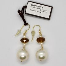 SOLID 18K YELLOW GOLD EARRINGS WITH WHITE PEARL AND BEER QUARTZ MADE IN ITALY image 3