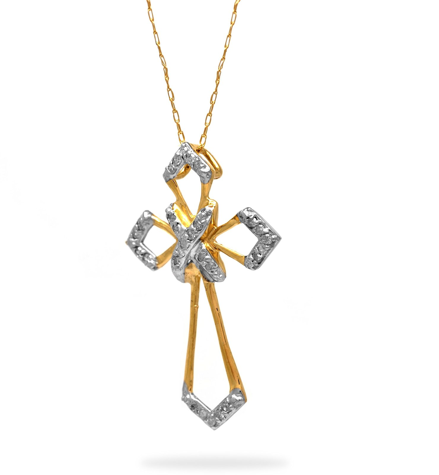 10 K Yellow Gold 0.25 Cttw Diamond Cross Pendant with Cable Chain