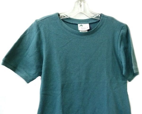 Spruce Green Textured Crewneck S/S GALS of California XS Ladies Shirt New