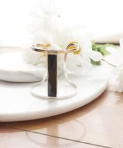 Dramatic Silver Cuff Bracelet with Black Detailing, Silver Sleek Bracelet Bangle - $12.28