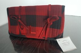 "POTTERY BARN Quilted Jewelry Roll Black and Red Monogrammed ""L"" NEW w Tags - $19.79"